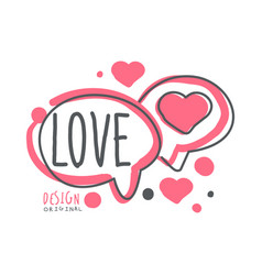 love logo template colorful hand drawn vector image