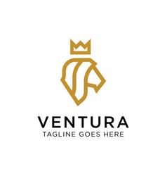 luxury lion king logo concept creative minimal vector image