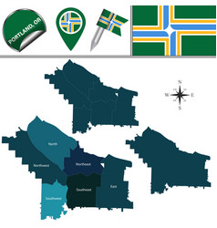 Map of portland oregon with districts vector