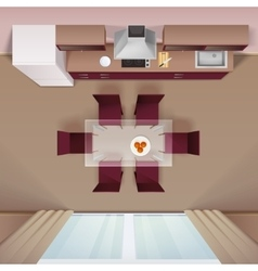 Modern Kitchen Top View Realistic Image vector