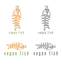 Negative space concept fish skeleton and carrot vector