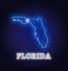 Neon map state florida on a brick wall vector