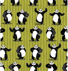 Panda seamless pattern Chinese bear ornament Set vector