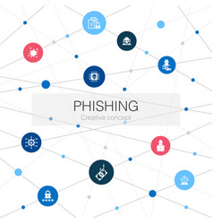 Phishing trendy web template with simple icons vector