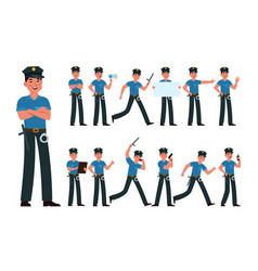 policeman american cop in uniform at different vector image