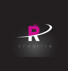 r creative letters design with white pink colors vector image