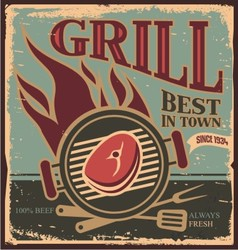 Retro BBQ poster template with fresh beef steak vector image