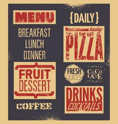 retro typographic grunge restaurant menu design vector image