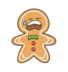 sad crying christmas holiday ginger bread cookie vector image
