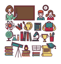 school education and lessons study items vector image