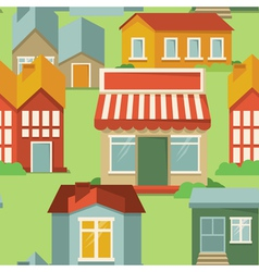 seamless pattern with cartoon houses and buildings vector image