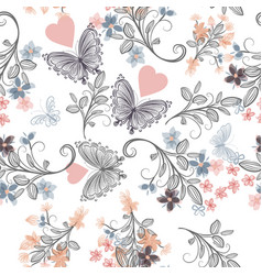 Seamless rustic wallpaper pattern with florals vector