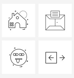 Set 4 modern line icons apartment emote vector