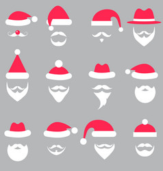 set santa hats and beards vector image