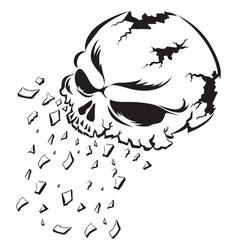 shattering human skull tattoo vintage engraving vector image