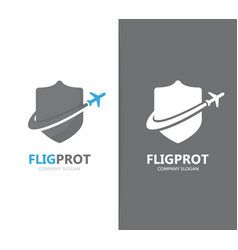Shield and airplane logo combination vector