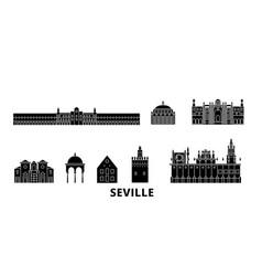 Spain seville flat travel skyline set spain vector