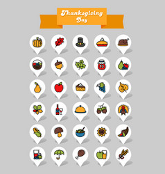 thanksgiving day pin map icon set harvest vector image