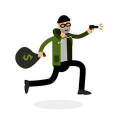 Thief in a mask running with a gun and money bag vector