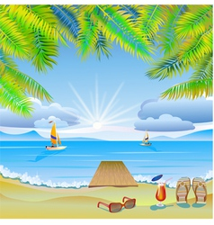 Travel The sea yachts palm trees Furlough vector image