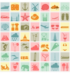 Travel Vacations Beach resort set icons Elements vector image