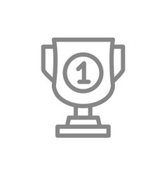 trophy award cup line icon board game table vector image