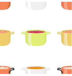 Various soups in bowls dishes seamless pattern vector