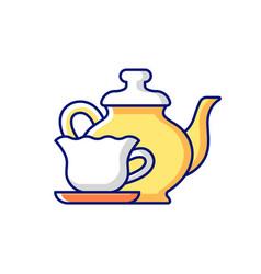 Vintage style tableware rgb color icon vector
