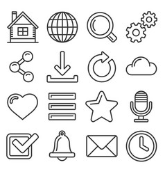 web icon set on white background line style vector image