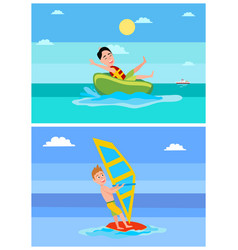 Windsurfing collection summer vector
