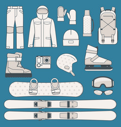Winter sports and activities icon set vector