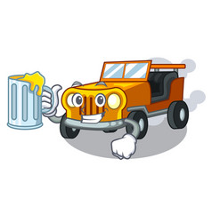 with juice jeep car toys in shape character vector image