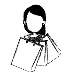 woman with shoppings bags vector image