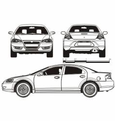 car technical draft vector image vector image