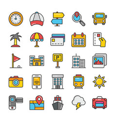 hotel and travel colored icons set 7 vector image