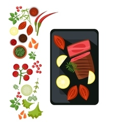 Medium Steak on Plate vector image