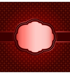 Red seamless geometric pattern with vintage frame vector image vector image