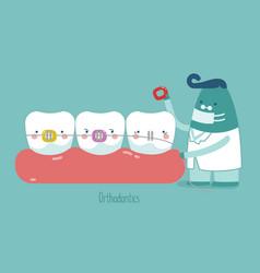 dentist make braces tooth concept of dental vector image