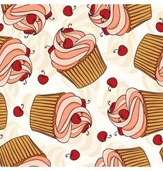hand drawn cupcakes pattern vector image
