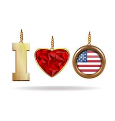 I love usa patriotic jewelry i love america vector