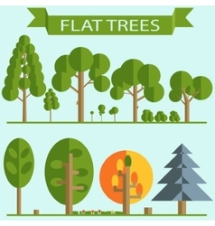 Set of green trees flat design vector