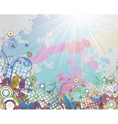 colorful grunge floral background vector image