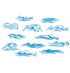 Ocean and sea waves set vector image vector image