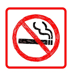 Hand drawn doodles of no smoking sign vector