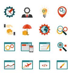 internet marketing flat icons set vector image vector image