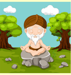 meditation old man sitting in lotus position vector image vector image