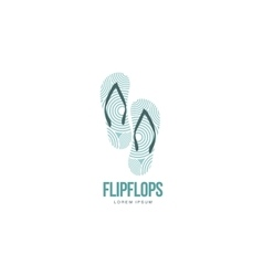 Stylized pair of three colored rubber flip flops vector image vector image