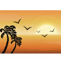 Summer Tropical Sunset background vector image
