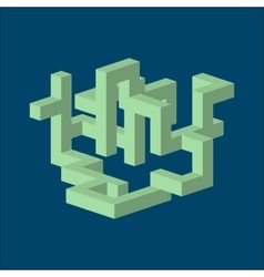 three dimension isometric abstract shape vector image vector image