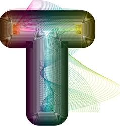 Abstract colorful Letter T vector image